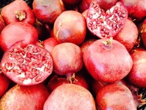Pomegranates. La Cienega farmers market.