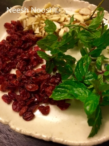 Barberries, mint and slivered almonds