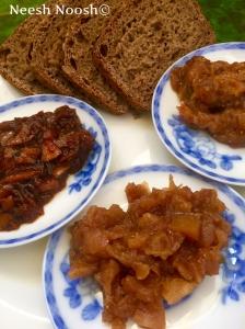 Shevat Jams: bottom-apple, left-kumquat orange, right-fig